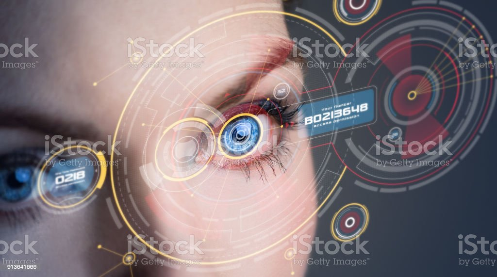 Iris recognition concept. stock photo