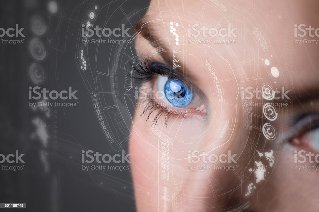 Iris recognition concept Smart contact lens. Mixed media. royalty-free stock photo