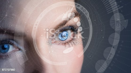 istock Iris recognition concept Smart contact lens. Mixed media. 872707992