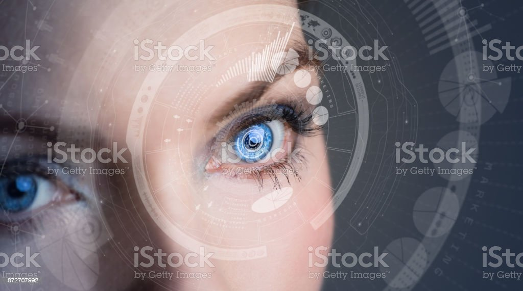 Iris recognition concept Smart contact lens. Mixed media. stock photo