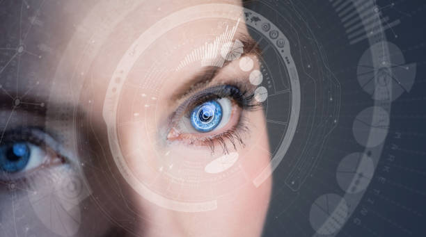 iris recognition concept smart contact lens. mixed media. - eye stock pictures, royalty-free photos & images