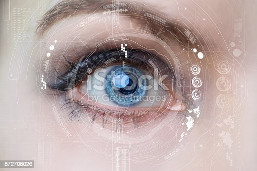 istock Iris recognition concept Smart contact lens. Mixed media. 872708026