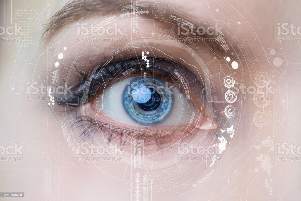 Iris erkännande konceptet Smart kontaktlins. Mixed media. bildbanksfoto