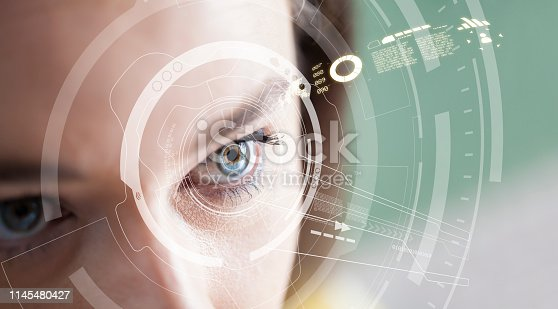 861189748 istock photo Iris recognition concept. Smart wearable eye-compatible computer 1145480427