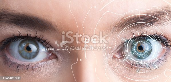 861189748 istock photo Iris recognition concept. Smart wearable eye-compatible computer 1145481826