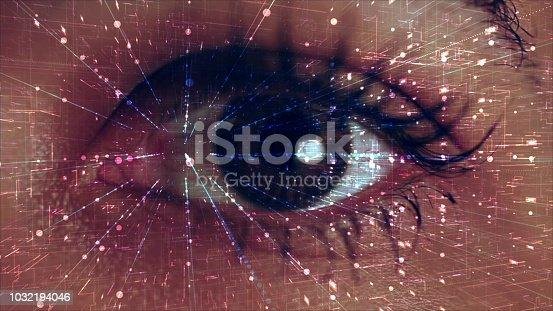 istock Iris recognition, virtual reality concept 1032194046