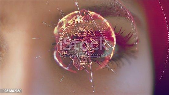 istock Iris recognition, virtual reality concept 1034362382
