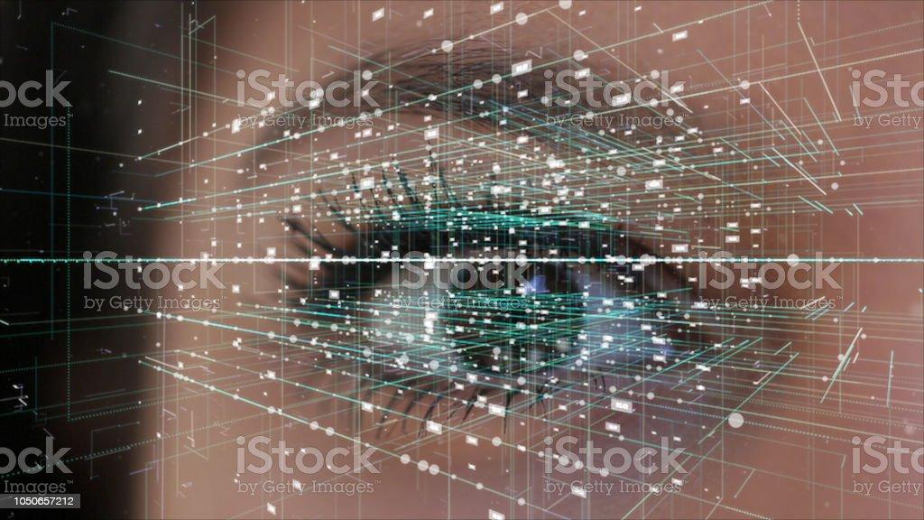 Reconhecimento de íris, conceito de realidade virtual - foto de acervo