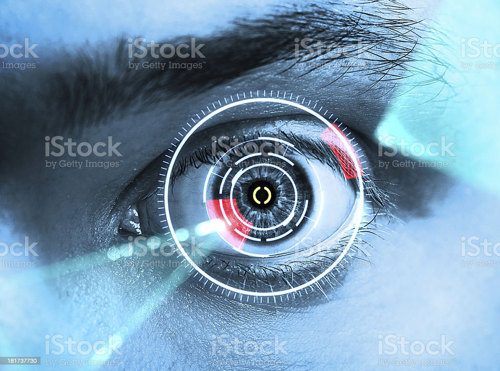 Iris scan in blue and red background stock photo