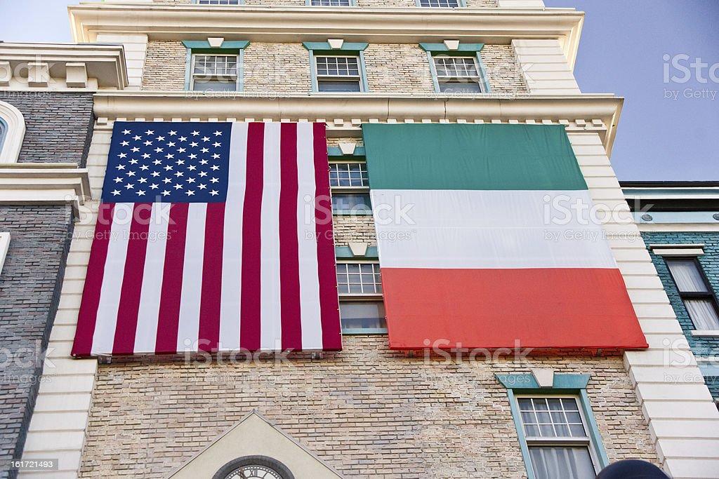 Irish American Flags stock photo