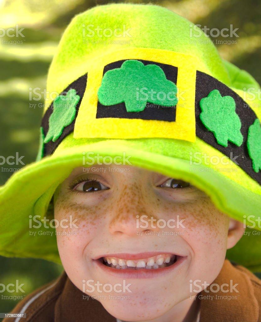 Irish Boy St. Patrick's Day Child Leprechaun Wearing Clover Hat royalty-free stock photo