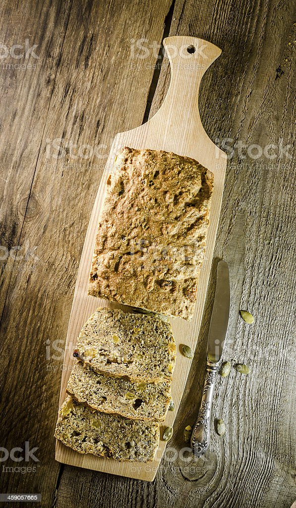 Irish bread with grains and raisins stock photo