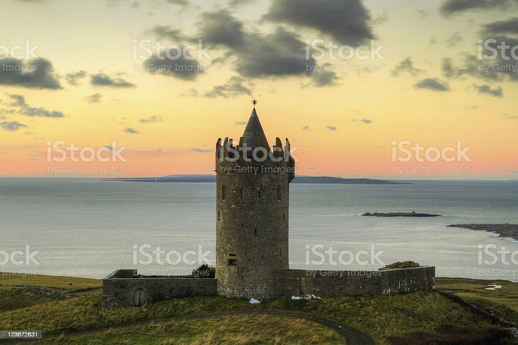 Irish castle at sunset stock photo