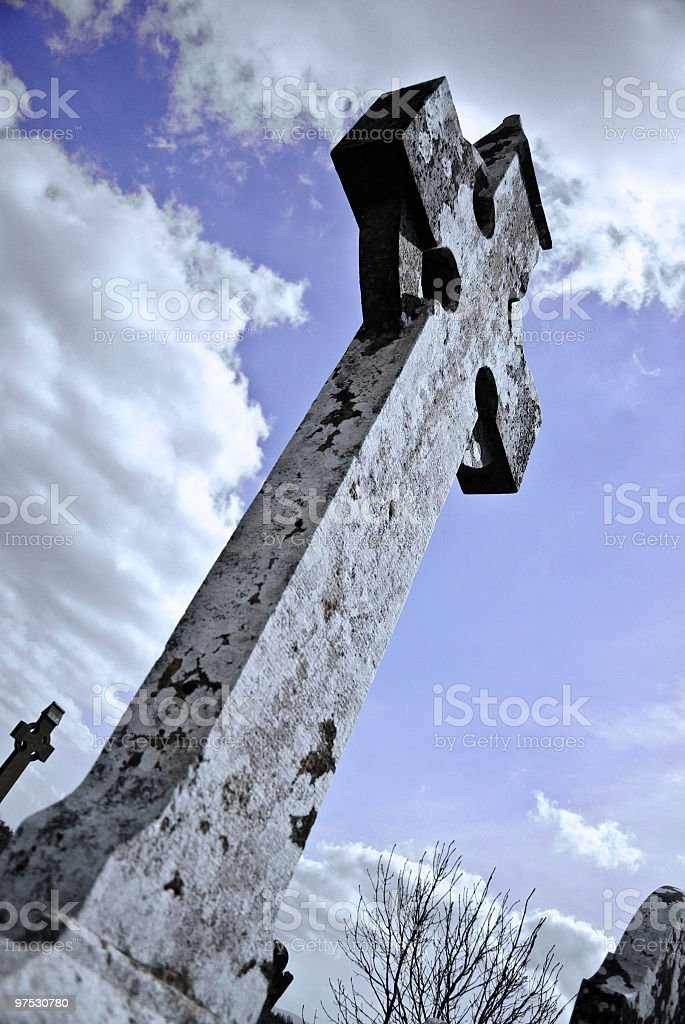 Irish Celtic Cross in Tipperary Cemetery royalty-free stock photo
