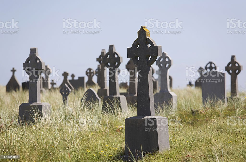 Irish cemetery with Celtic cross royalty-free stock photo