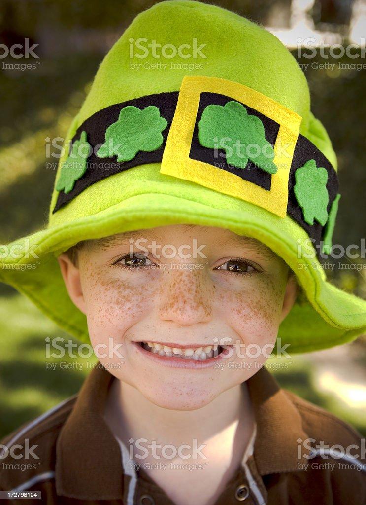 Irish Child & St. Patrick's Day Leprechaun Boy Wearing Clover Hat stock photo