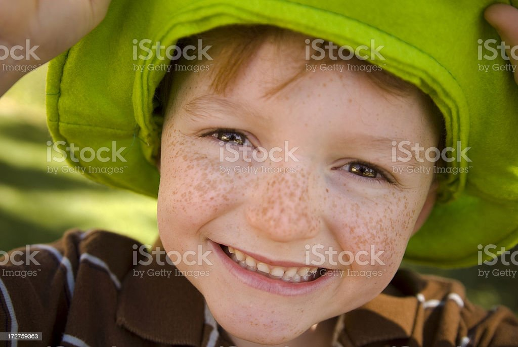 Irish Child St. Patrick's Day Smiling Leprechaun Clover Hat Boy royalty-free stock photo