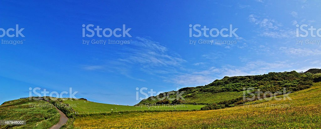 Irish Coastal Bluff just above tiny Carrick-a-rede island stock photo