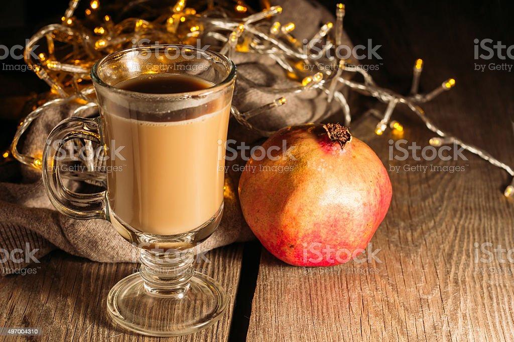Irish coffee and pomegranate stock photo