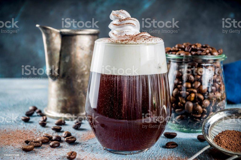 Autumn espresso drink ideas, Irish coffee cocktail with whipped cream...
