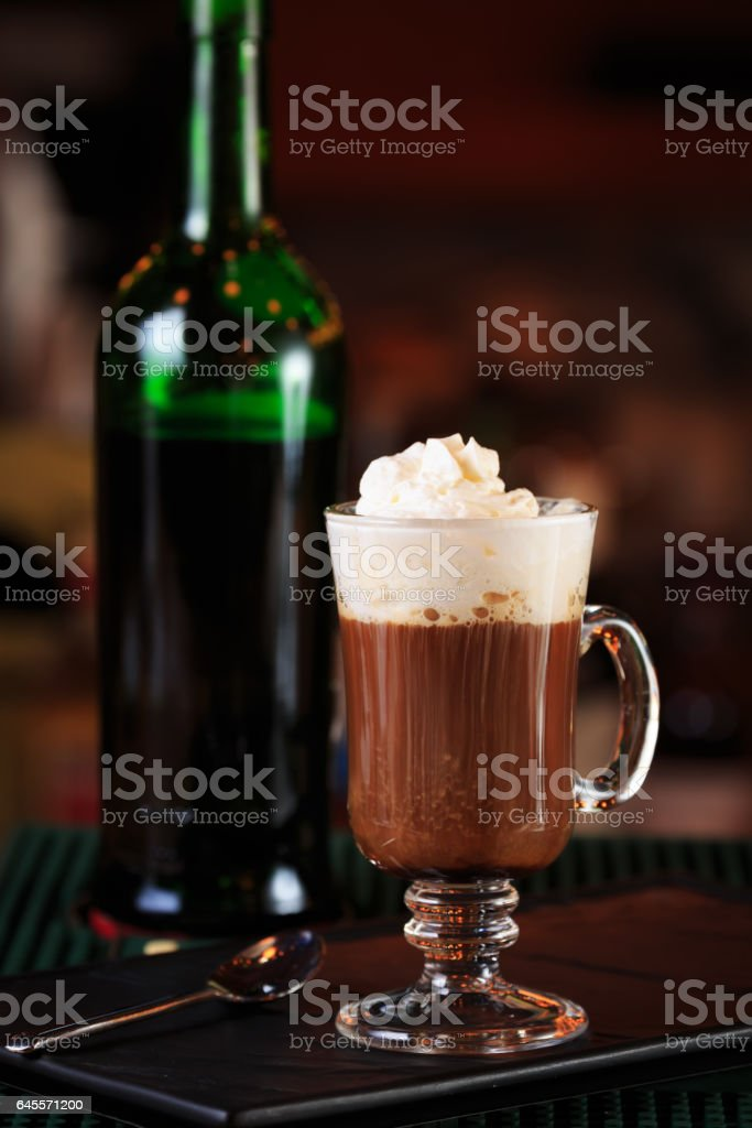 Irish coffee in a bar. Concept of St Patrick holiday. Holiday background stock photo