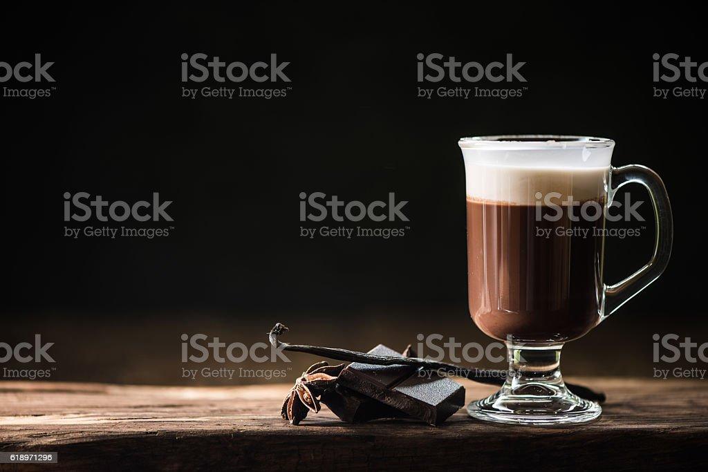 Irish coffee on dark background stock photo
