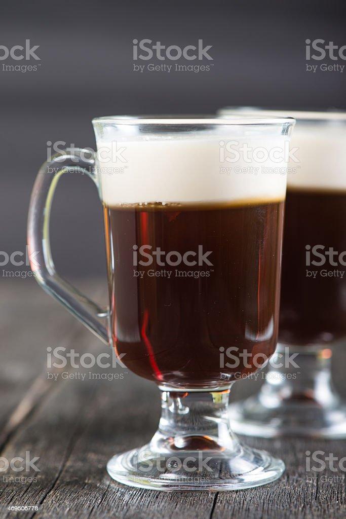 irish coffee serven on wooden bar stock photo