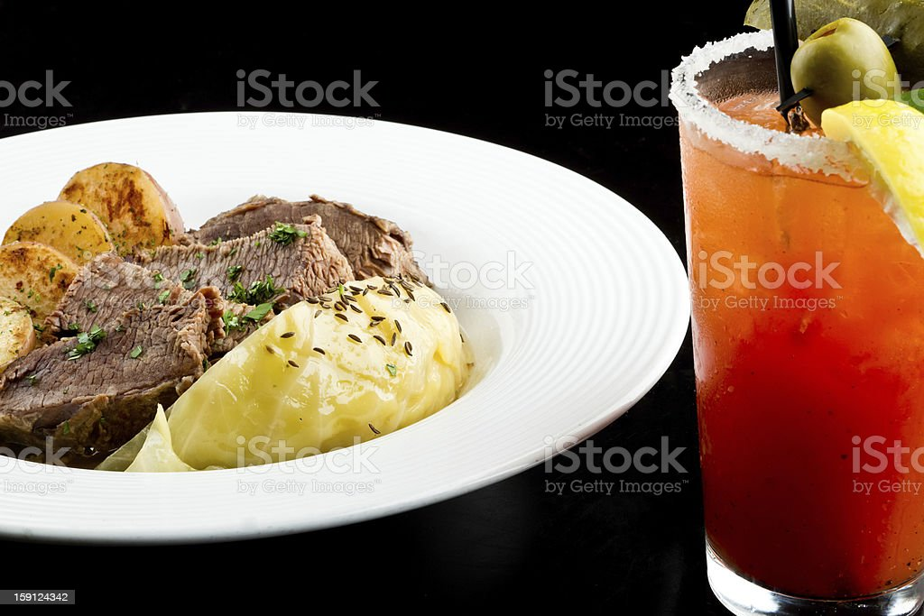Irish Cuisine, Corned Beef, Cabbage and Bloody Mary stock photo