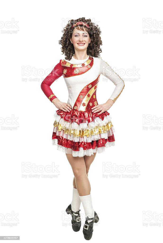 Irish dancer in hard shoes stock photo
