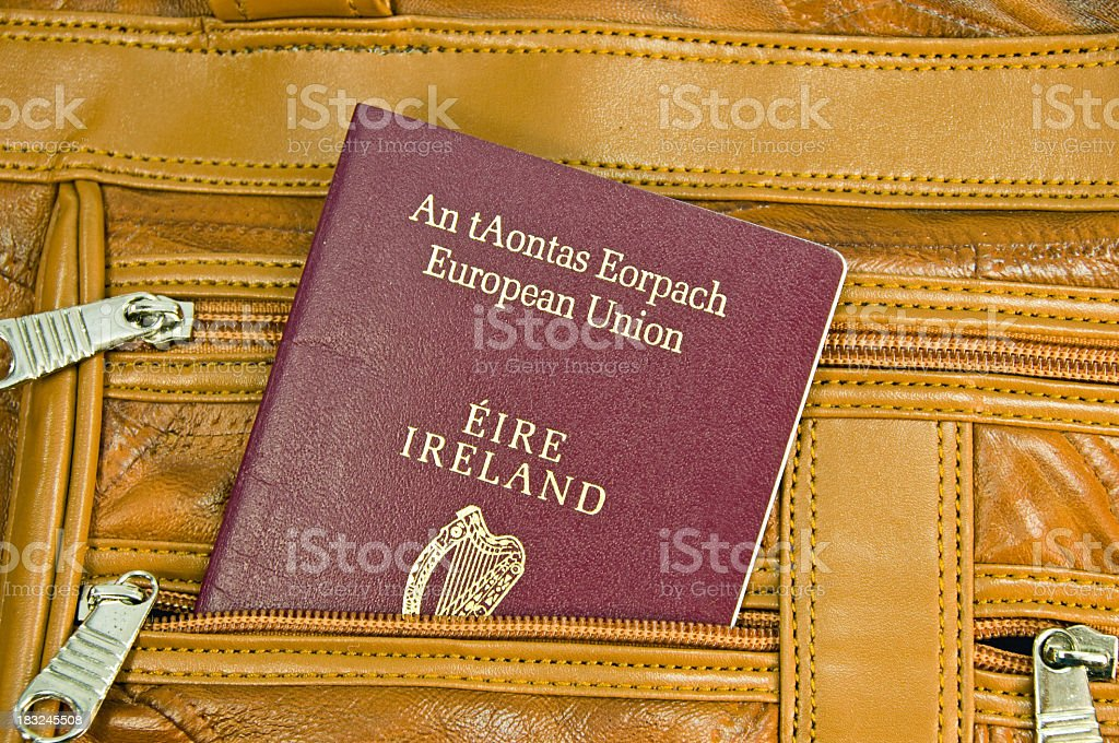 Irish EU  Passport in Carry-on stock photo