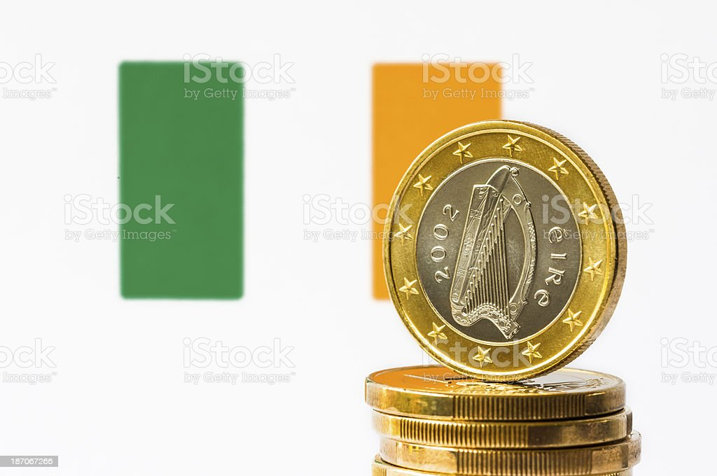 Irish Flag and Euro royalty-free stock photo