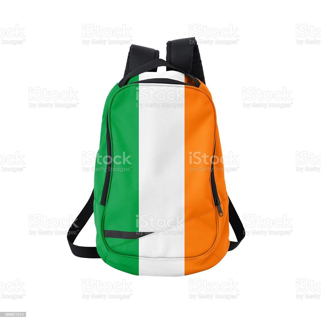 Irish flag backpack isolated on white w/ path stock photo