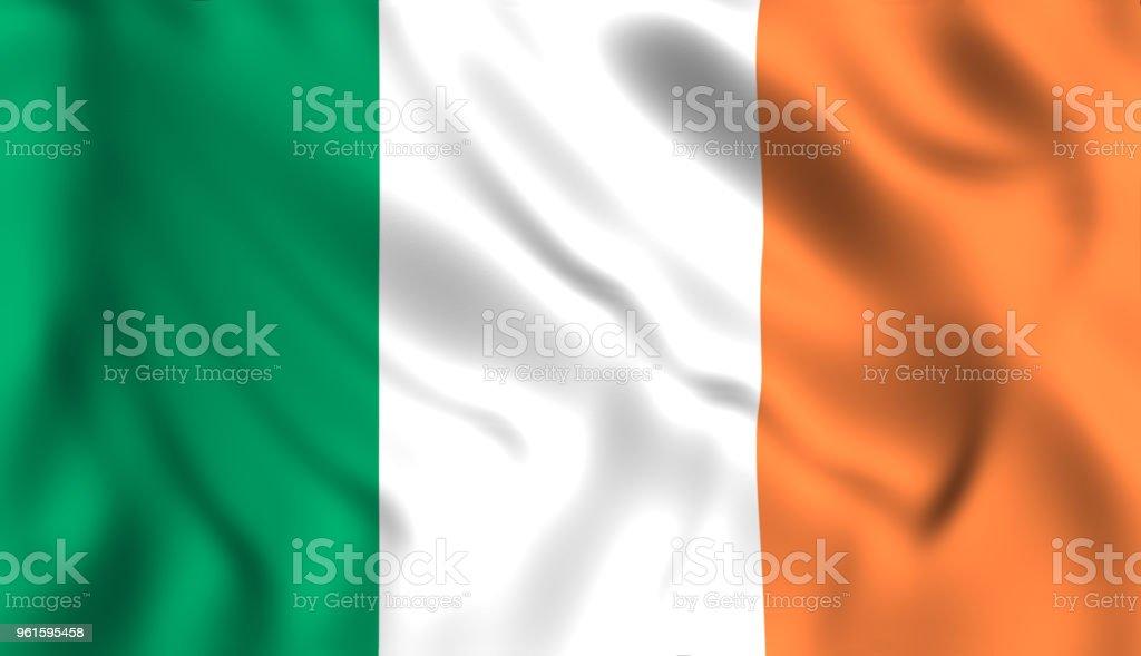 Irish flag waving in the wind Ireland stock photo