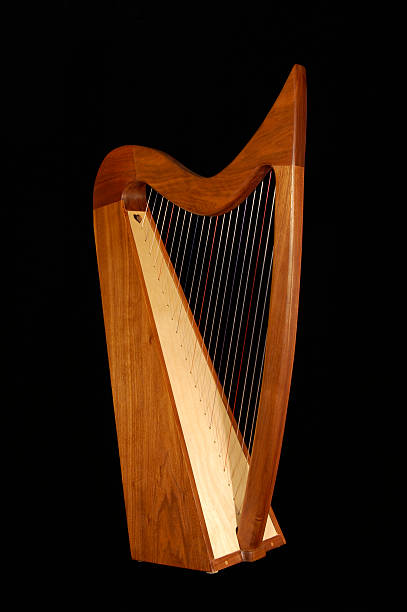 irish harp - harpist stock photos and pictures