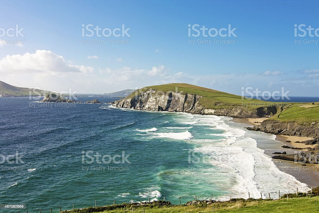 Irish landscape at sunset - dingle peninsula stock photo