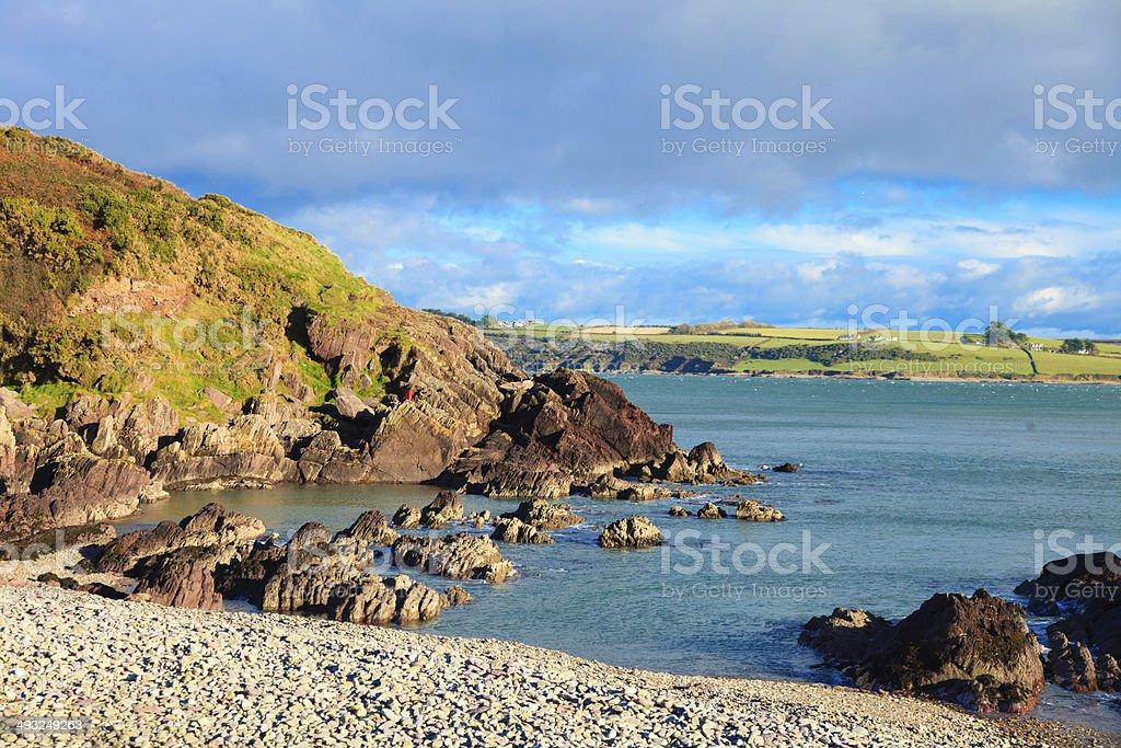 Irish landscape. Coastline atlantic ocean coast scenery cloudy blue...