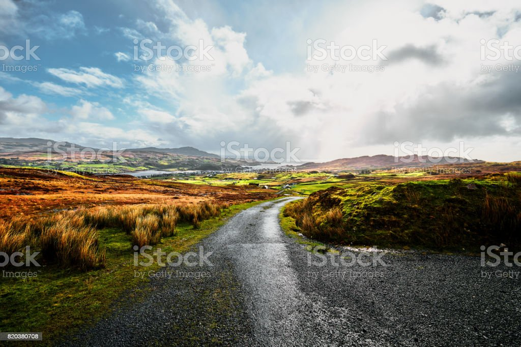 Irish landscape in County Donegal with a bright blue sky and sunshine stock photo