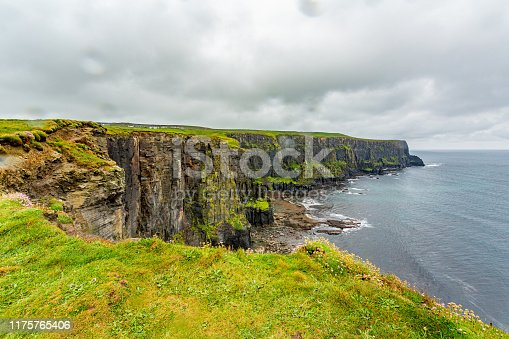 Irish landscape of the rocky cliffs along the coastal walk route from Doolin to the Cliffs of Moher, geosites and geopark, Wild Atlantic Way, rainy day in county Clare in Ireland