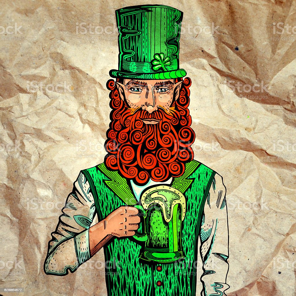 Irish leprechaun with mug of beer on paper fotografa de stock y irish leprechaun with mug of beer on paper foto de stock libre de derechos malvernweather Images