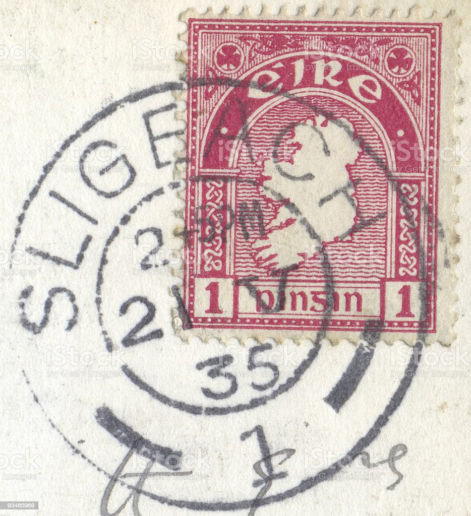Irish postage stamp stock photo