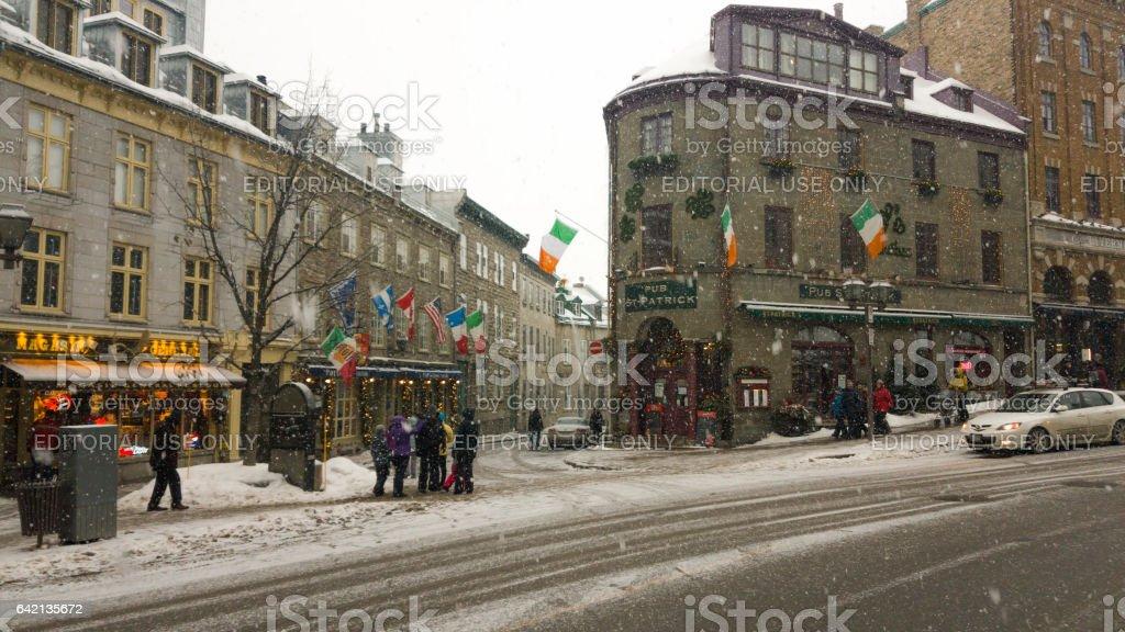 Irish pub Saint Patrick Quebec, Canada. stock photo