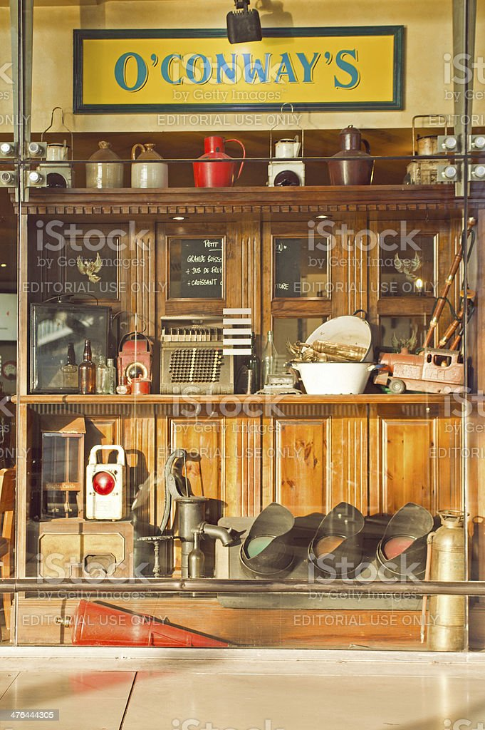 Irish pub window in Lille royalty-free stock photo