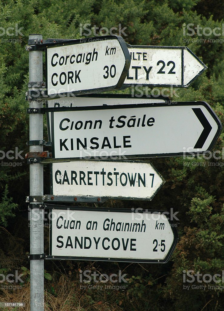 Irish road and directional sign listing several Irish towns royalty-free stock photo