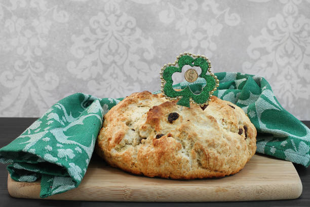 irish soda bread for st. patricks day - st patricks day food stock photos and pictures