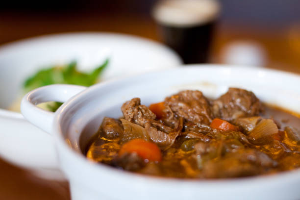 Irish stew Hearty meal of Irish beef stew with Stout beef stew stock pictures, royalty-free photos & images
