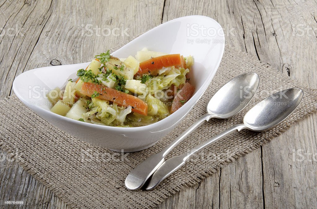 irish stew vegetarian style in a bowl stock photo