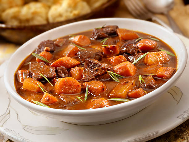 Irish Stew with Biscuits  beef stew stock pictures, royalty-free photos & images