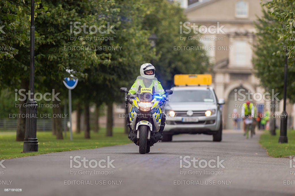 Irish Traffic Corps Officer escorting half marathon stock photo