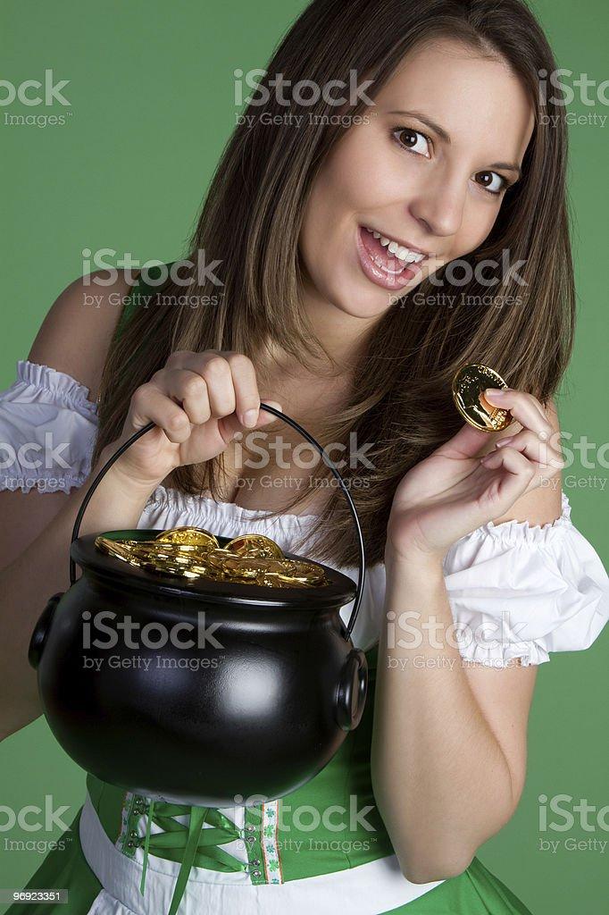 Irish Woman With Gold royalty-free stock photo