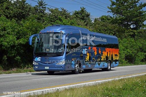 istock Irizar i6 - luxury coach driving on the road 1078537642